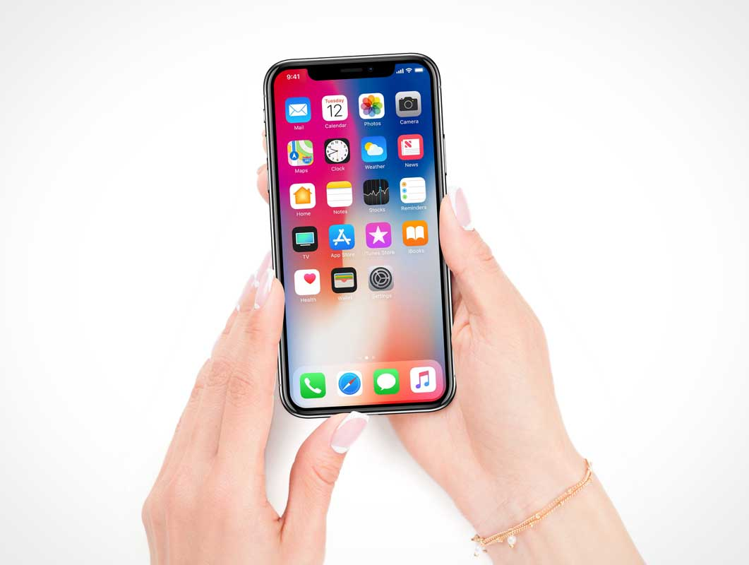 iPhone X Display In Hand Face Up PSD Mockup