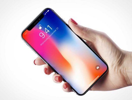 iPhone X Mobile In Hand PSD Mockup