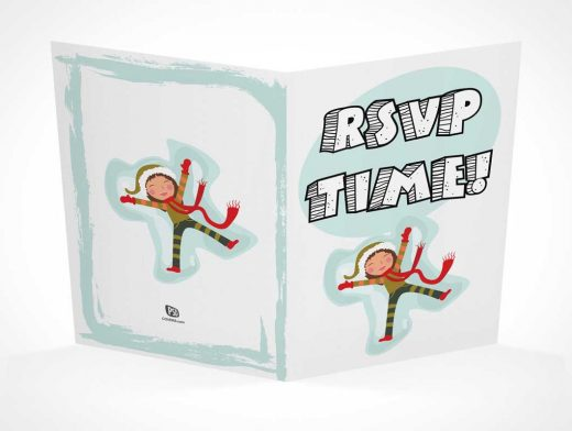 2 Panel RSVP Card Front & Back PSD Mockup