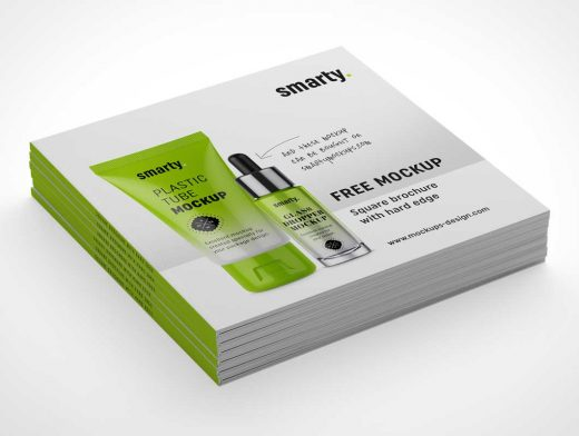 8 Softcover Square Brochure Covers & Inside Pages PSD Mockup