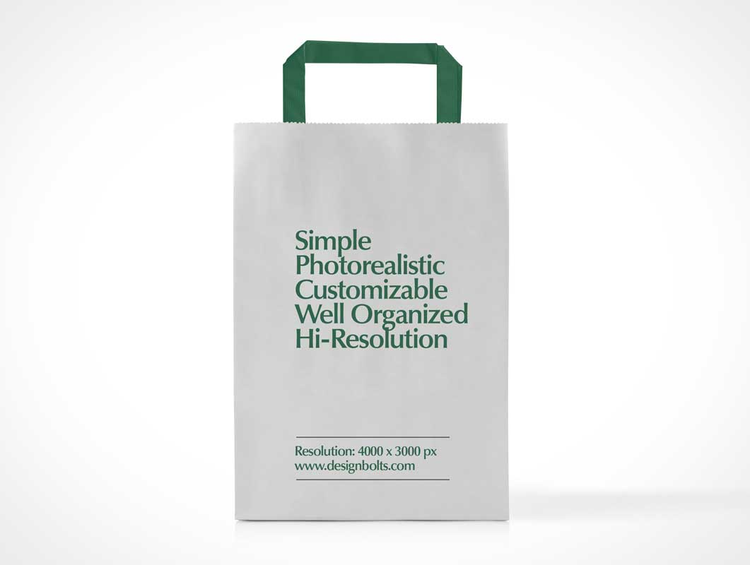 Boutique Paper Shipping Bag Front PSD Mockup