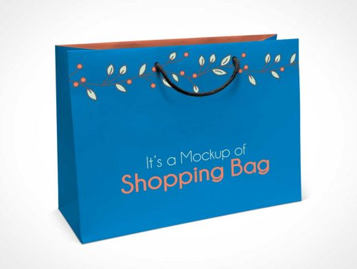 Boutique Paper Shopping Bag & Rope Handle PSD Mockup
