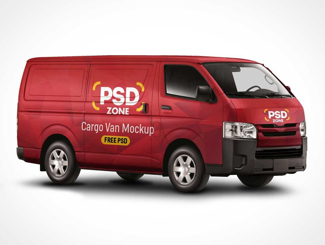 Branded Cargo Delivery Van PSD Mockup