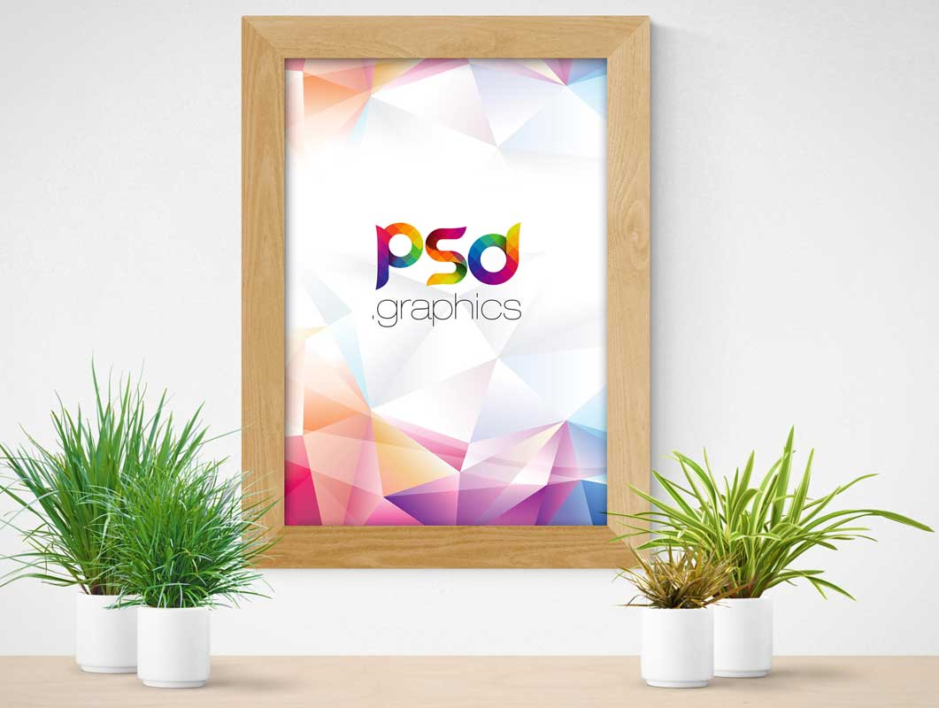 Chamfered Wood Photo Frame PSD Mockup