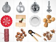 Christmas Ornaments & Holiday Scenes PSD Mockup