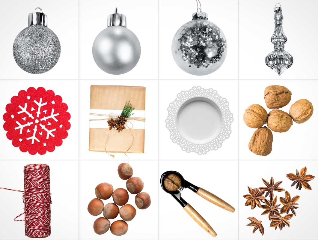 Christmas Ornaments & Holiday Scenes PSD Mockup