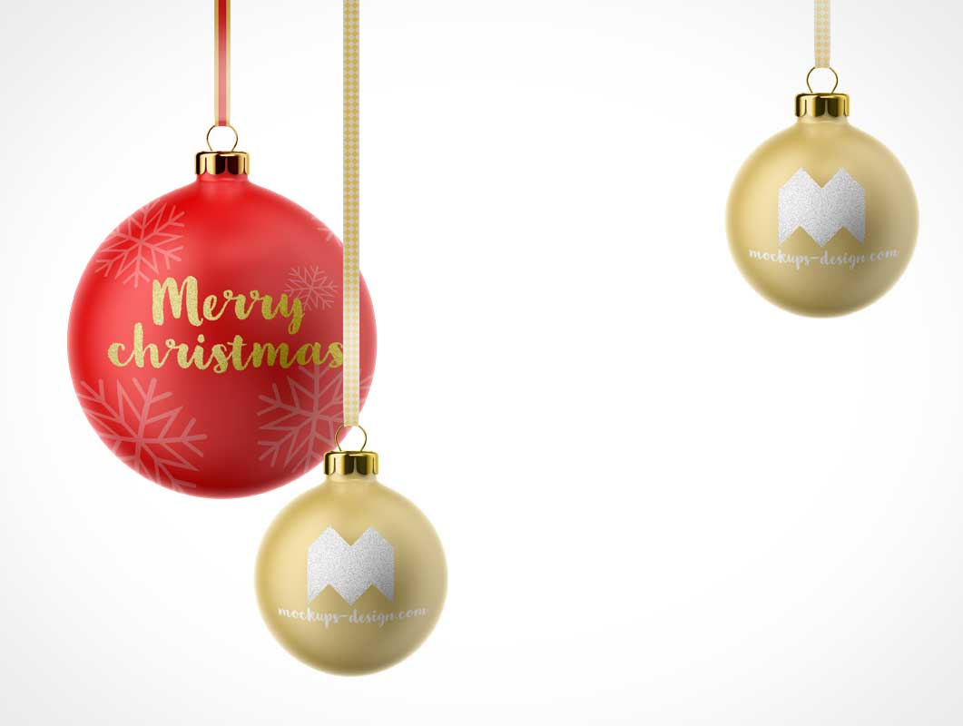 Christmas Tree Ball Decorations PSD Mockup
