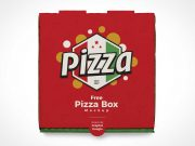 Closed Pizza Pie Box Cover PSD Mockup