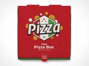 Closed Pizza Pie Box Cover PSD Mockup