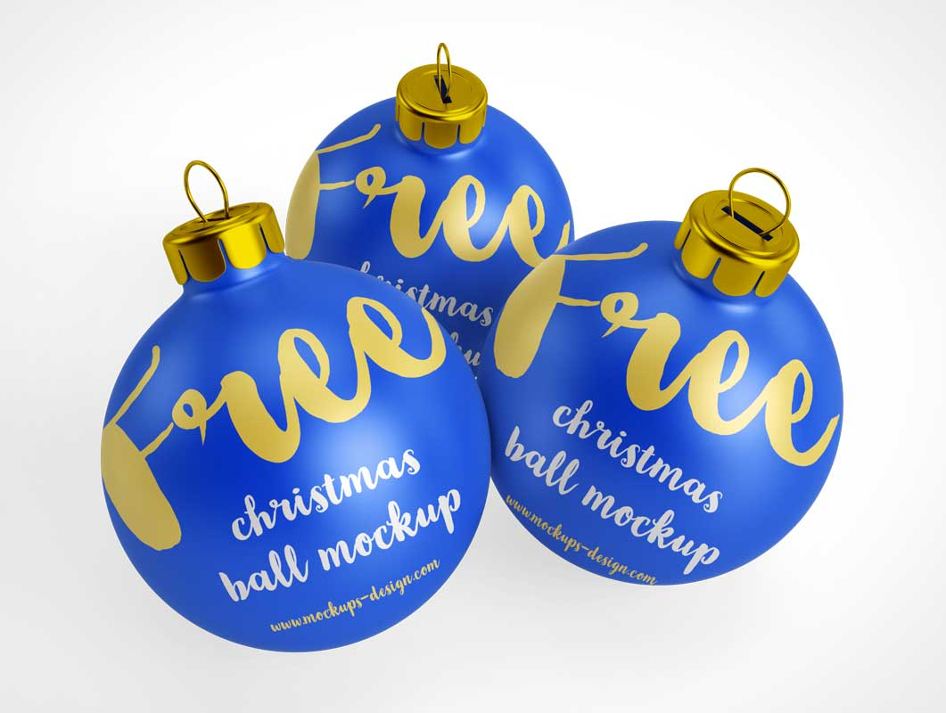 Decorative Christmas Tree Balls PSD Mockup