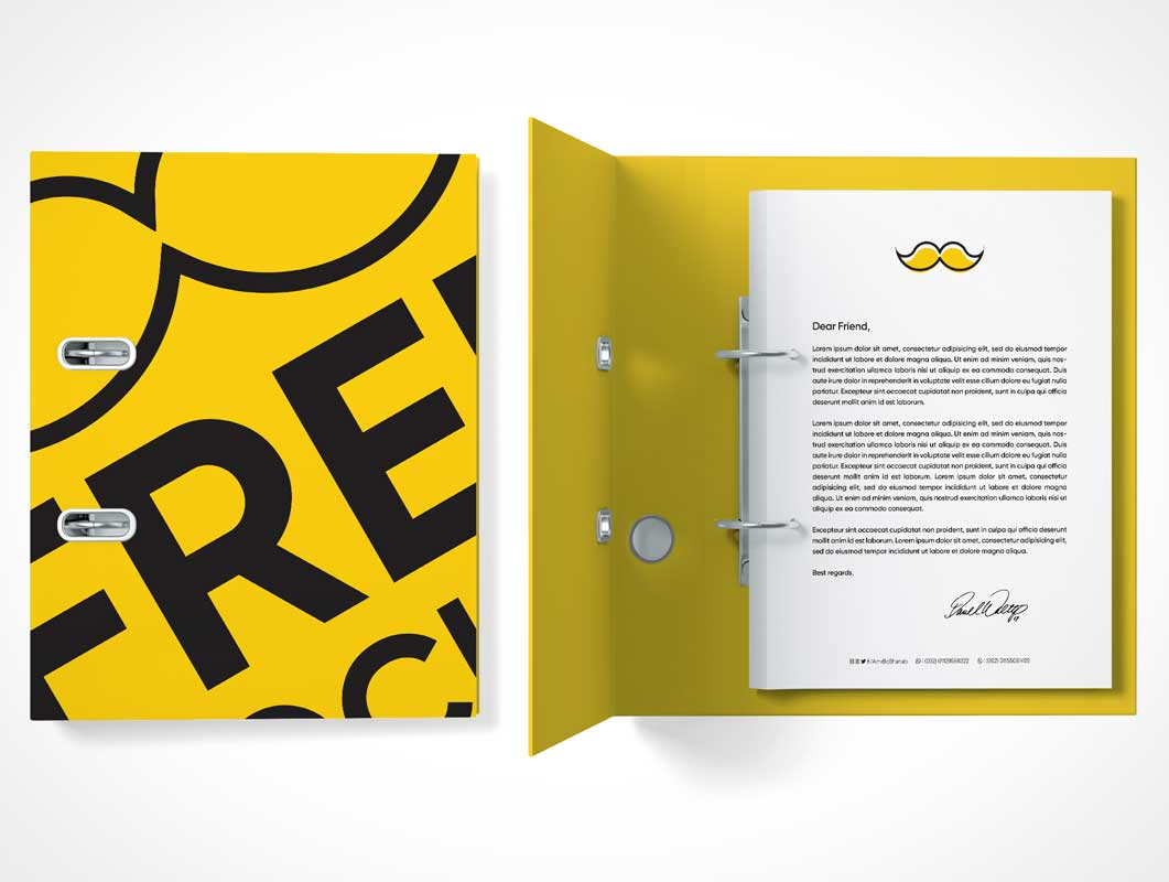 Double-Ring Hardcover Binder Folder PSD Mockup