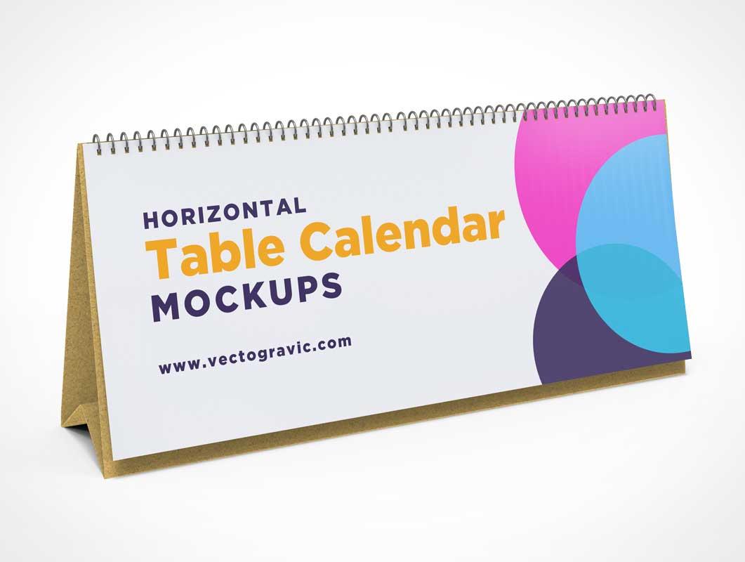 Folding Tent Calendar & Spiral Spine PSD Mockup