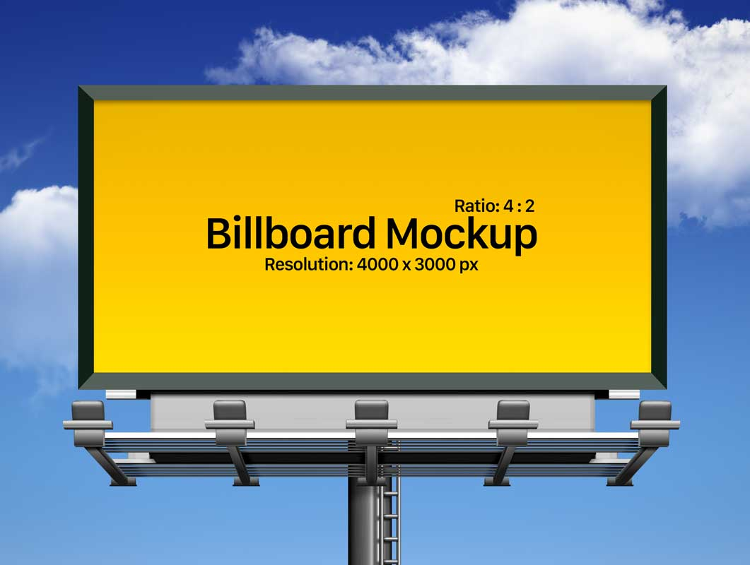 Framed Outdoor Landscape Billboard Advertising PSD Mockup