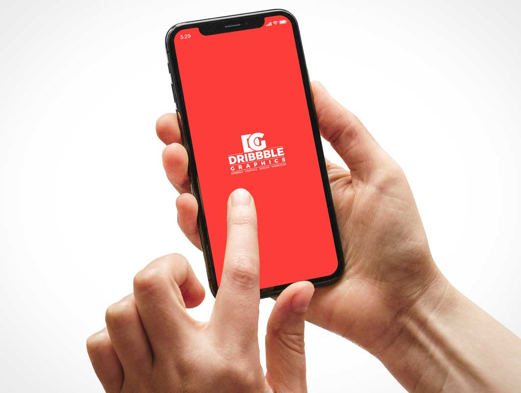 Hand & Fingers Gesturing Over iPhone Display PSD Mockup