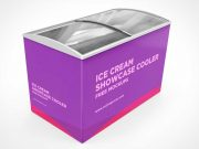 Ice Cream Store Sliding Door Freezer PSD Mockup