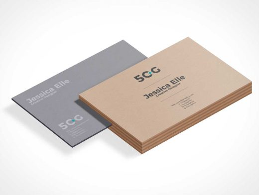 Isometric Company Business Card Deck PSD Mockup