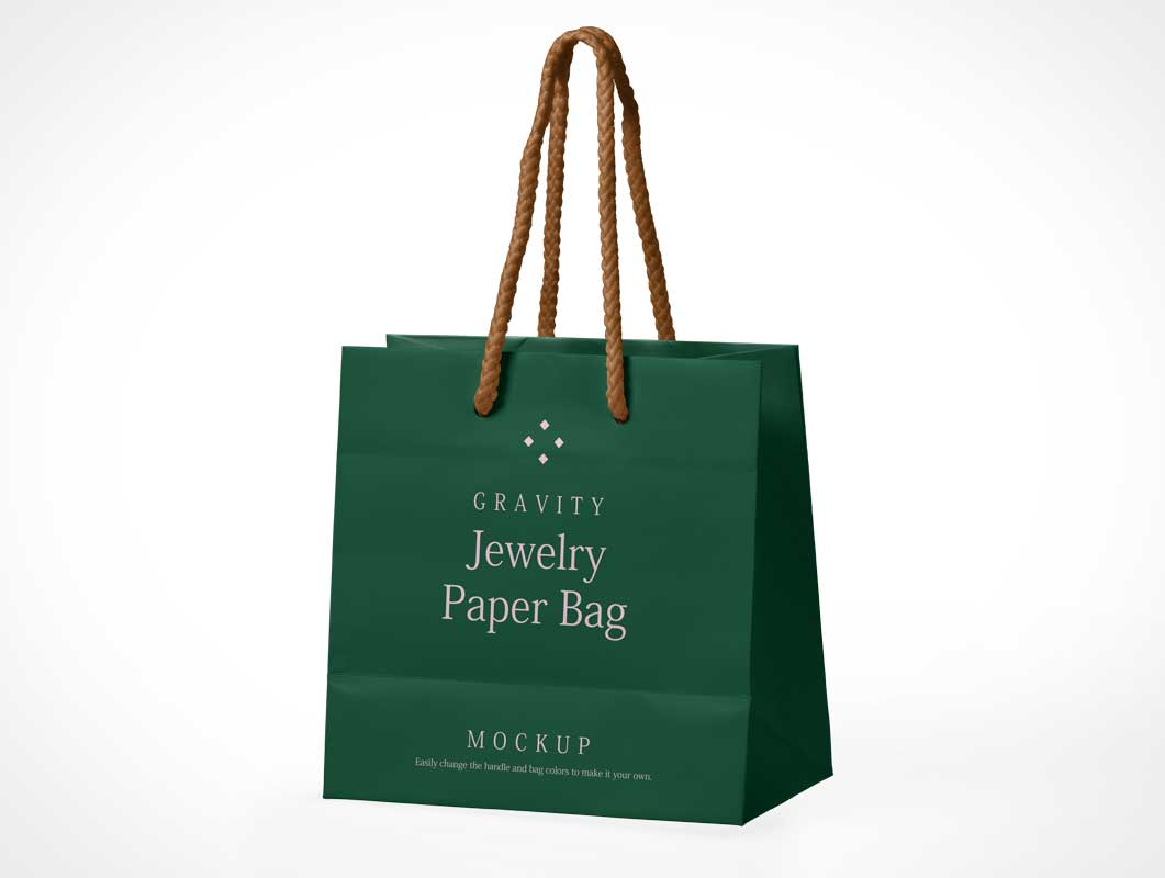 Jewelry Paper Shopping Bag & Rope Handle PSD Mockup