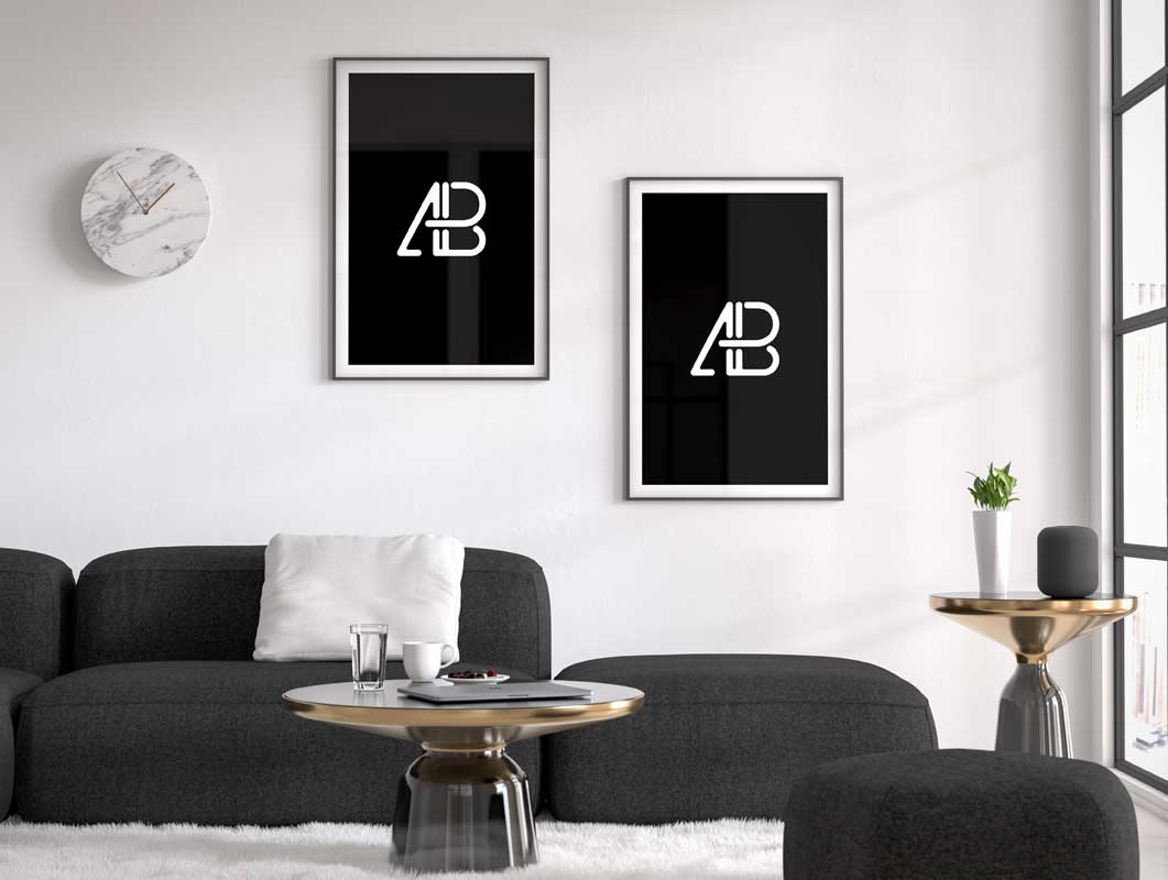 Living Space Framed Posters, Clock & Couch PSD Mockup