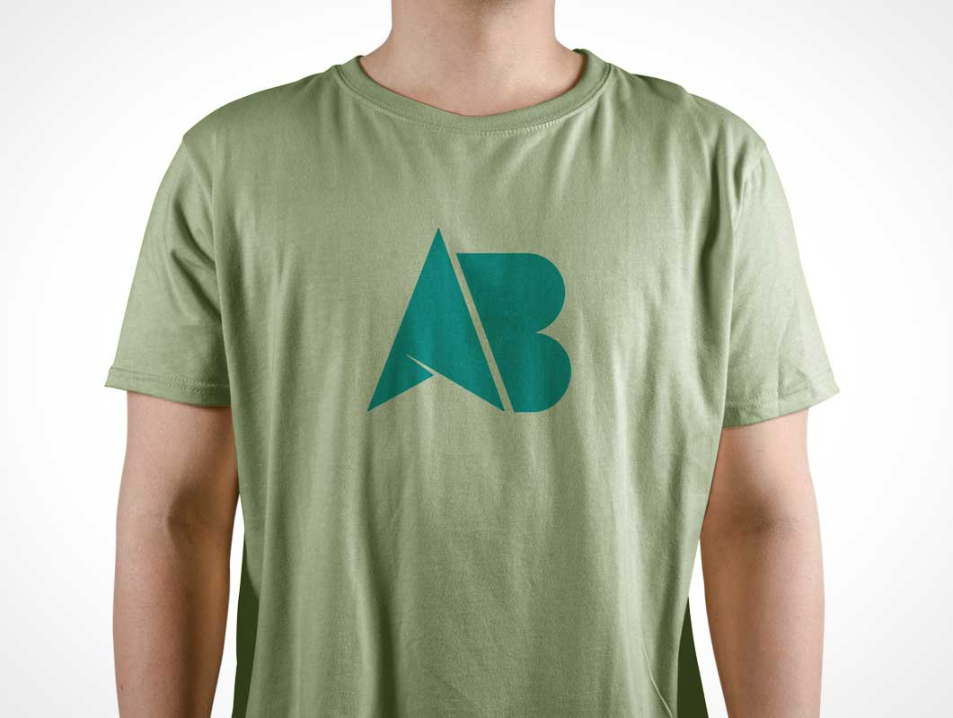 Men's Round Collar Cotton T-Shirt Front PSD Mockup