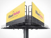 Multi-Direction Outdoor Billboard Advertising PSD Mockup