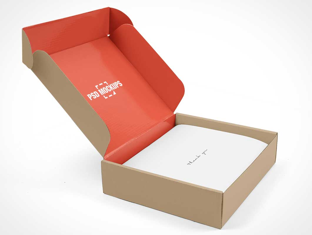 Open Gift Box Package Branding PSD Mockup
