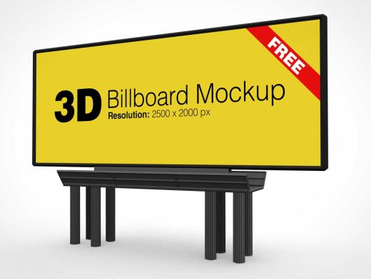 Outdoor Landscape Advertising Billboard PSD Mockup