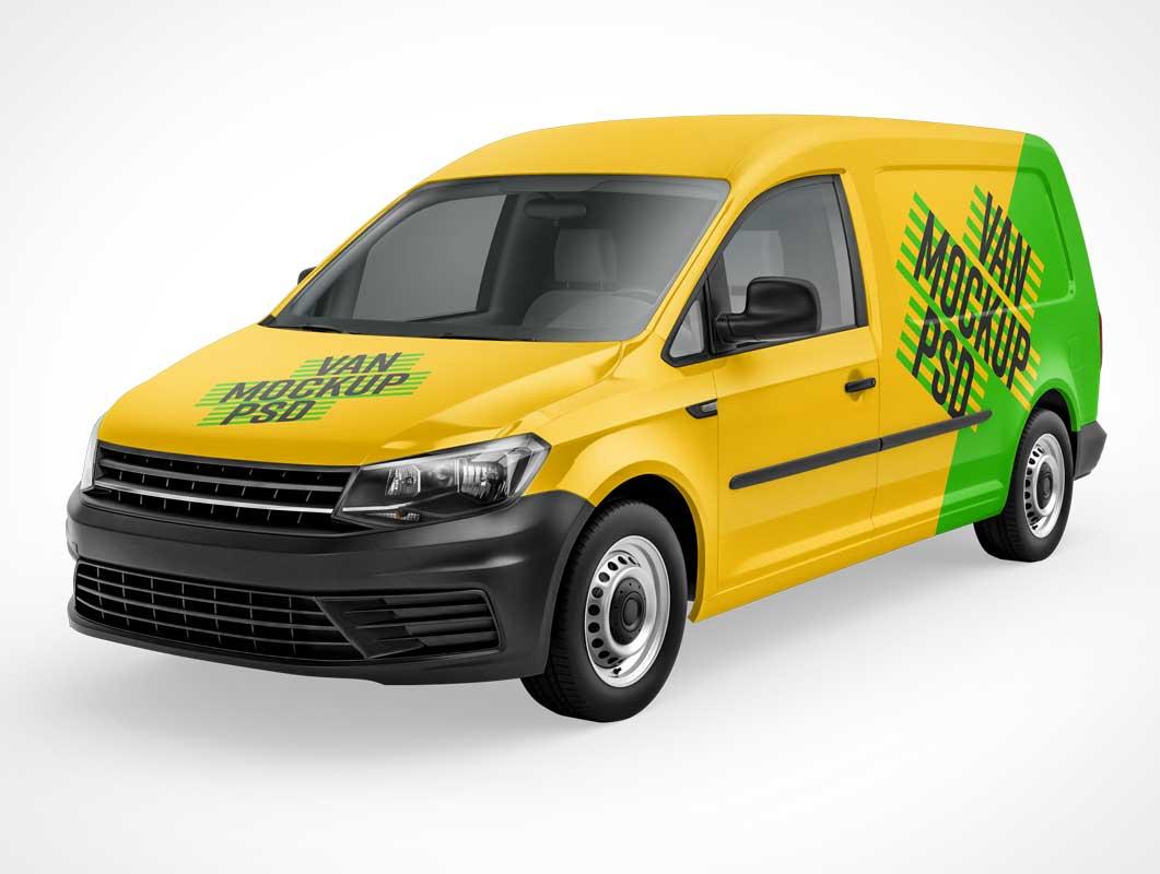 Panel Van Delivery Truck Front, Side, Back & Top Views PSD Mockup