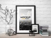 Portrait Picture Photos Frames PSD Mockup