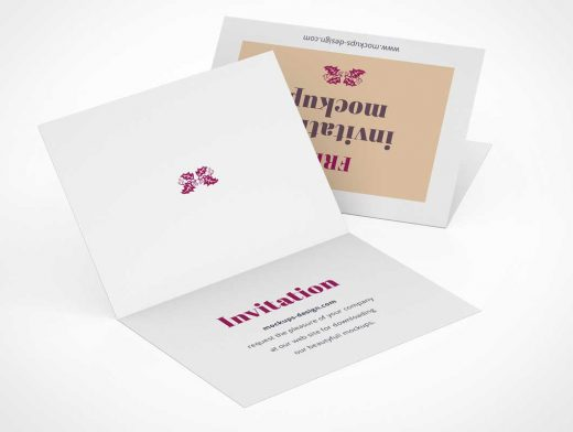 RSVP Invitation Card Front & Inside Panels PSD Mockup