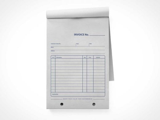 Retail Invoice & Receipt Notepad Front PSD Mockup