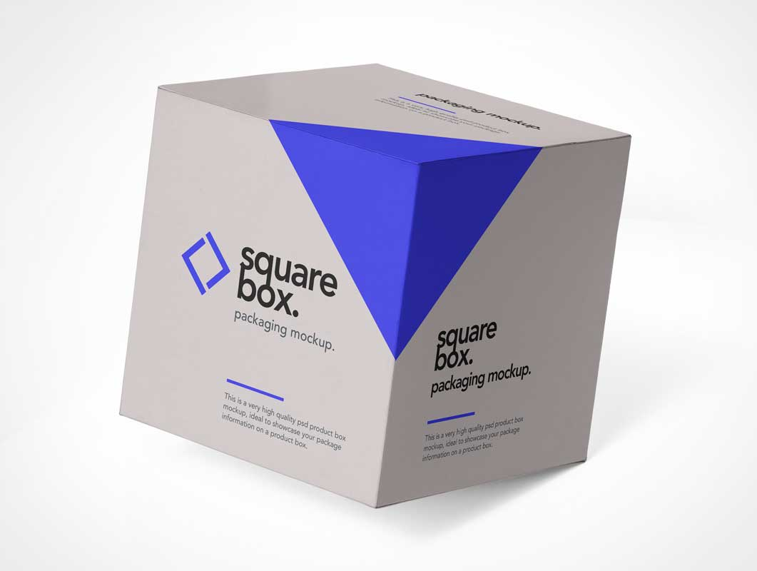 Square Box Delivery Packaging PSD Mockup