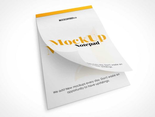 Stationery Notepad & Page Curl PSD Mockup