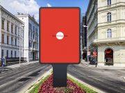 Vertical Framed Roadside Poster Billboard PSD Mockup