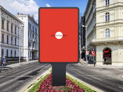 Vertical Framed Roadside Poster Billboard PSD Mockup