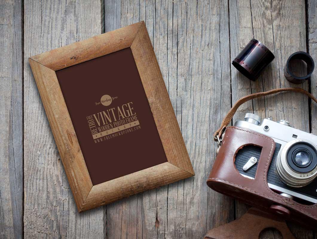 Vintage Wooden Photo Frame & Camera PSD Mockup