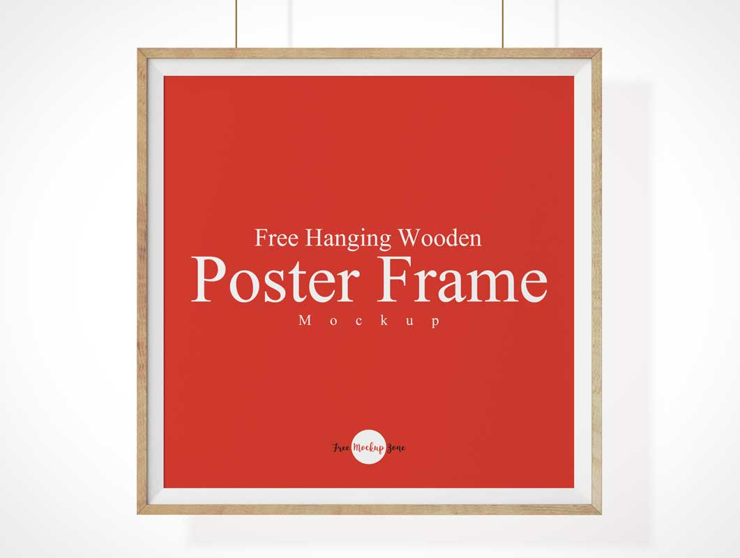 Wooden Framed Picture & Inset Chamfer Border PSD Mockup