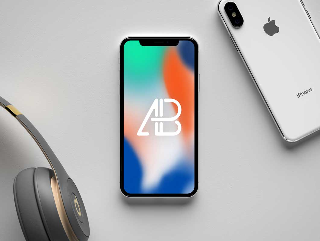 iPhone X Front Display & Back Cover PSD Mockup