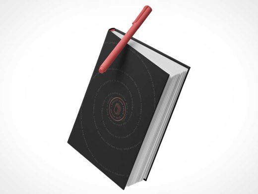 Anti-Gravity Floating Hardcover Black Notebook PSD Mockup