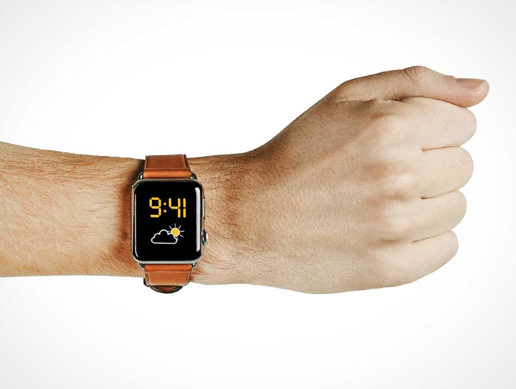 Apple Watch & Leather Wrist Band PSD Mockup