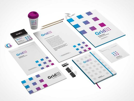 Branding Stationery 3 Product Views PSD Mockup