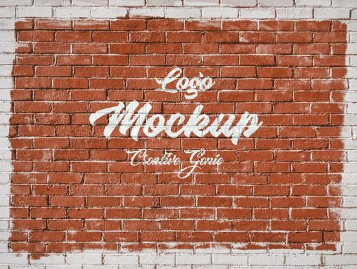Brick Wall Graffiti Marketing PSD Mockup