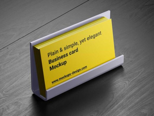 Business Card Holder On Desk PSD Mockup
