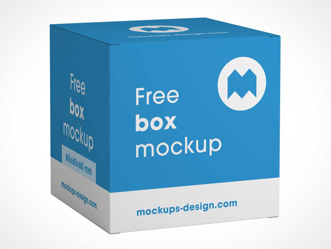 Closed Square Gift Box Display Packaging PSD Mockup