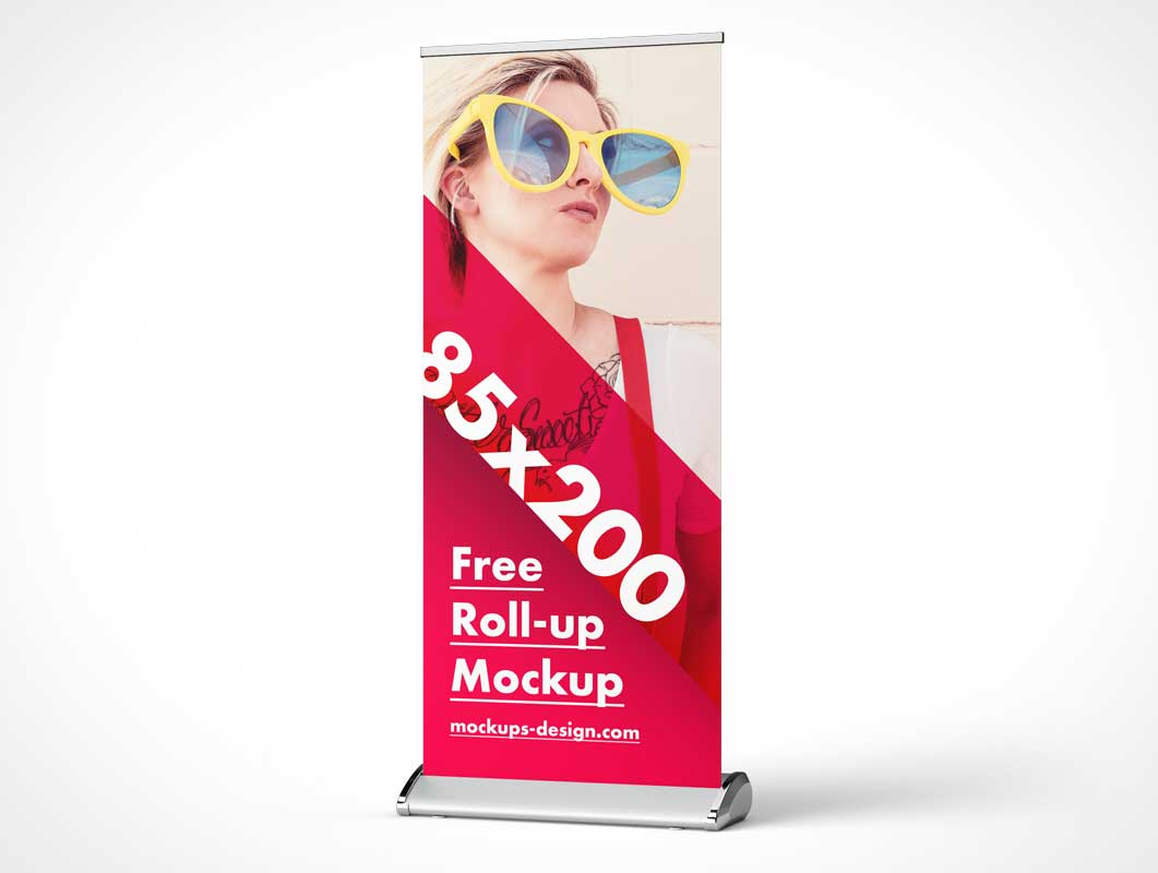 Fabric Roll-Up Trade Show Event Banner PSD Mockup