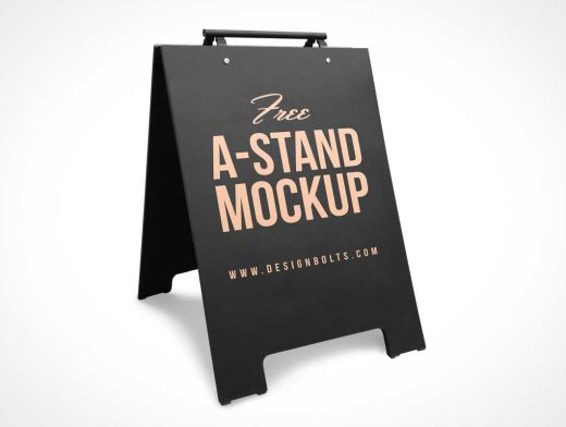 Foldable Store Street Sign & Carry Handle PSD Mockup