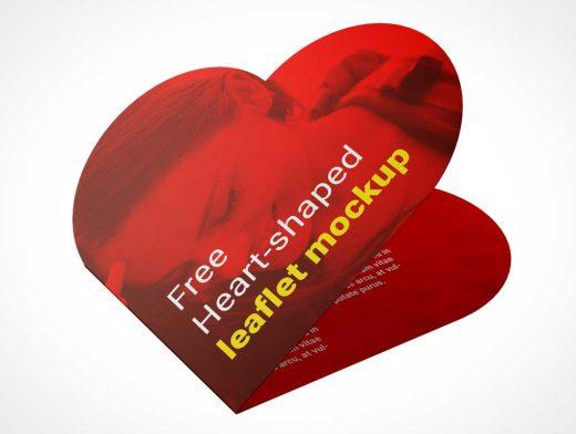 Heart Shaped Valentines Day Card PSD Mockup