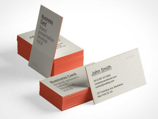 Heavy Stock Business Card Card Stacks Front & Back PSD Mockup