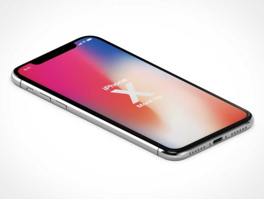 Isometric iPhone X Display Facing Up PSD Mockup