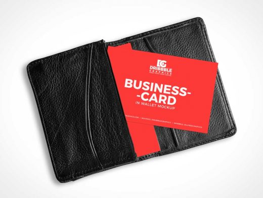 Leather Wallet & Business Cards PSD Mockup