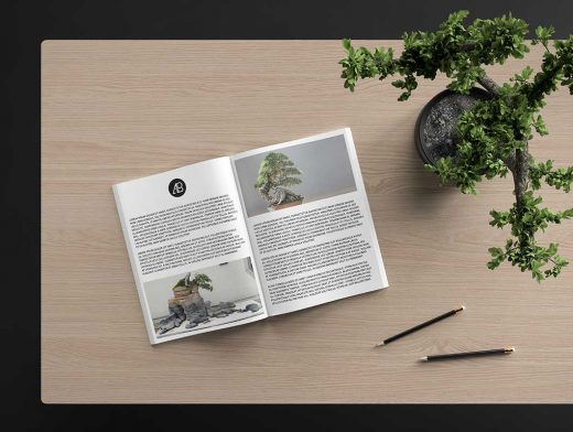 Magazine Centrefold Face Up on Table PSD Mockup